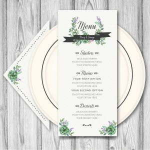 Wedding menu with watercolor flowers