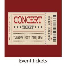 Event tickets. raffle tickets